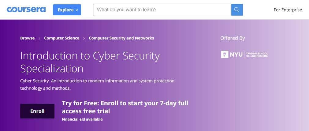 Coursera cybersecurity course online.