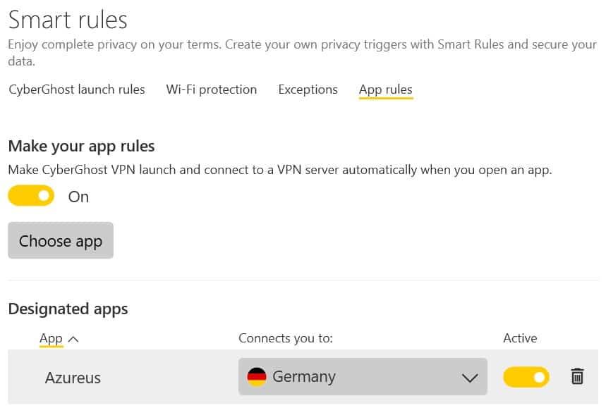 cyberghost 8 app rules