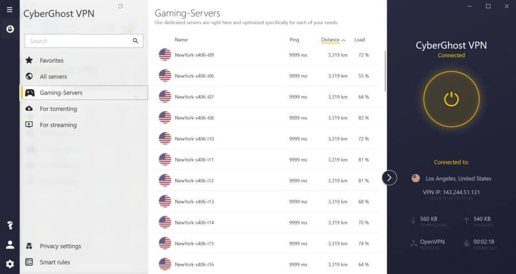 cyberghost 8 gaming servesr