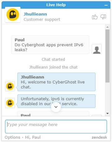 cyberghost live chat