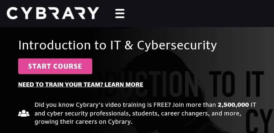 Cybrary cybersecurity course online.