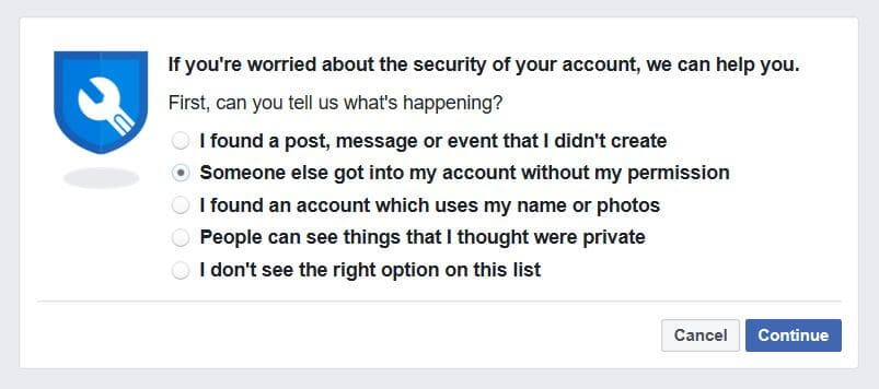 Facebook account takeover fraud.