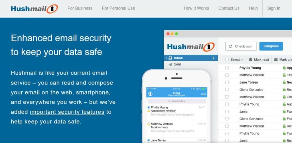 Hushmail homepage.