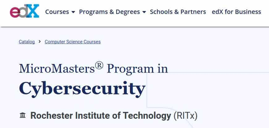 edX cybersecurity course online.
