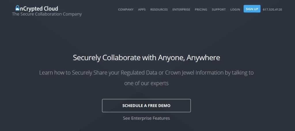 nCrypted Cloud homepage.