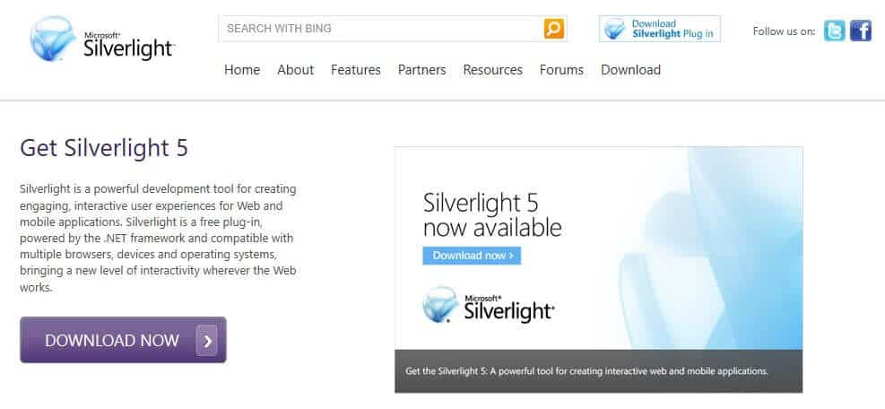 Microsoft Silverlight homepage.
