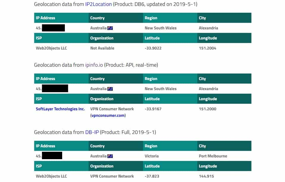 IP address geolocation on iplocation.net