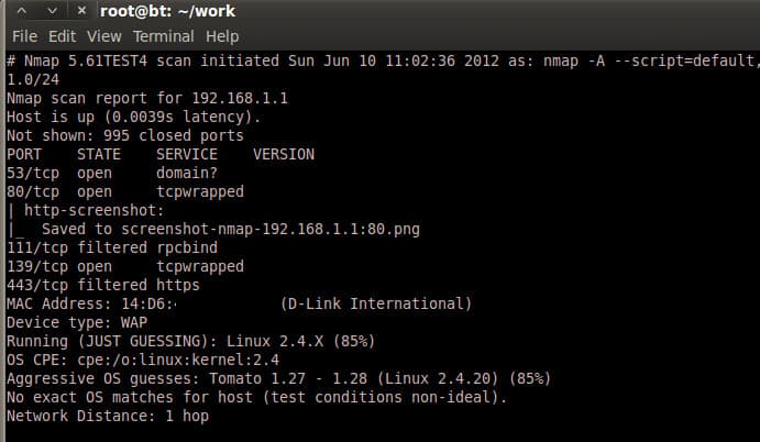 Nmap screenshot