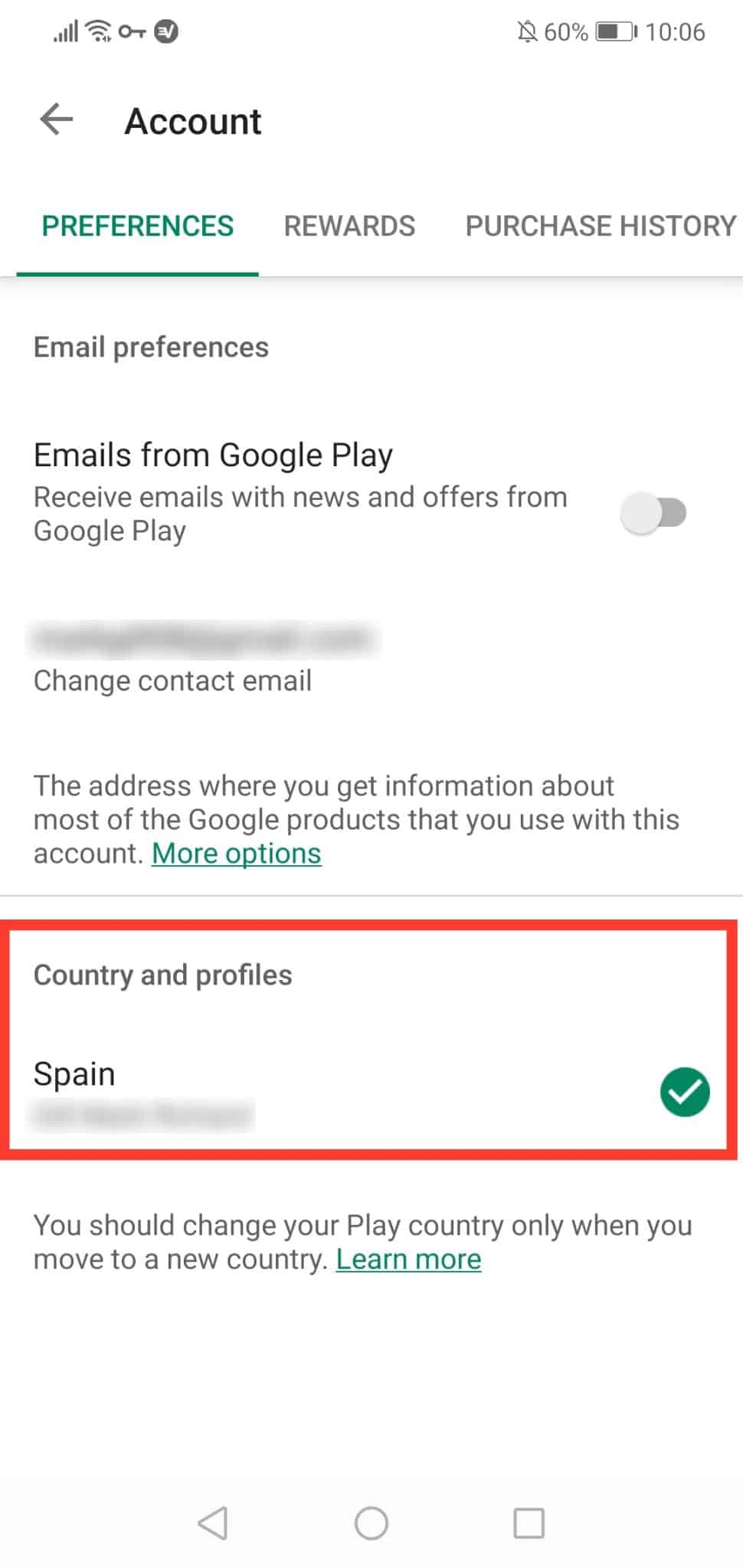 Google Play country
