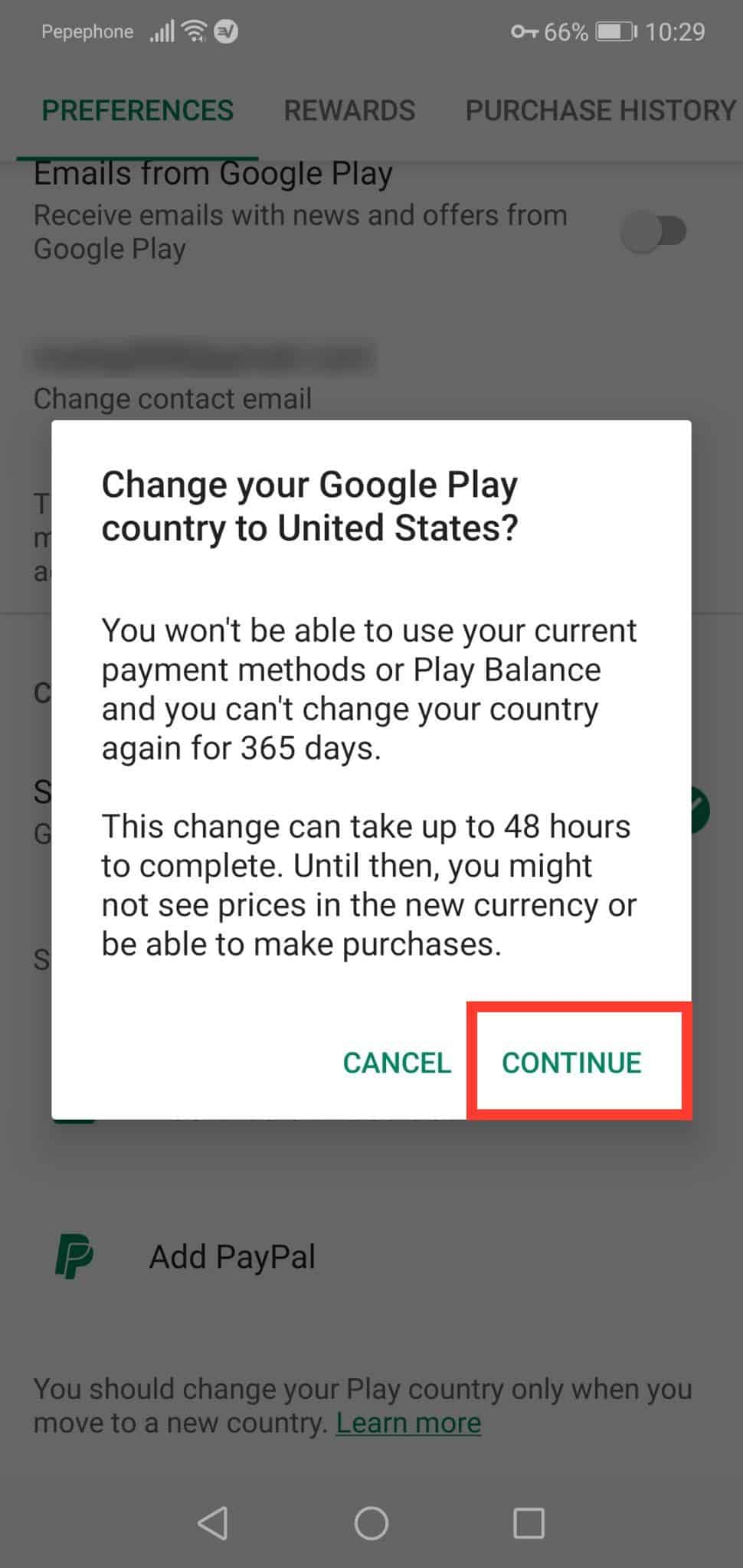 Change Google Play country warning