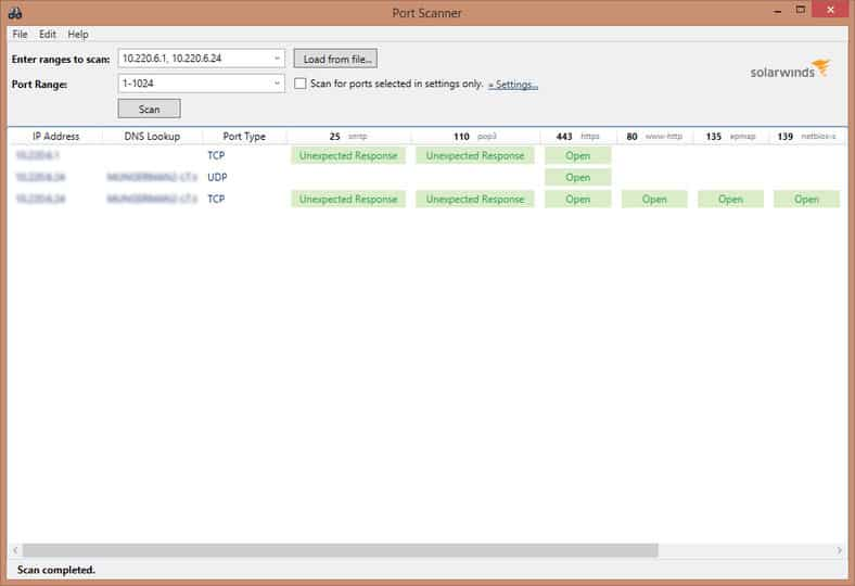 SolarWinds PortScanner screenshot