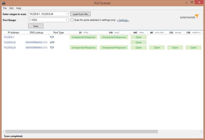 Capture d'écran de SolarWinds PortScanner