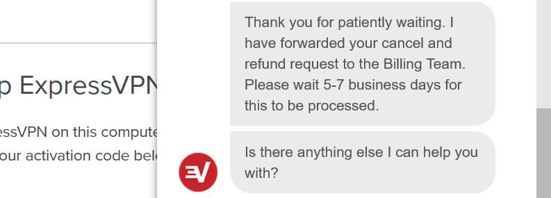 ExpressVPN free trial refund.