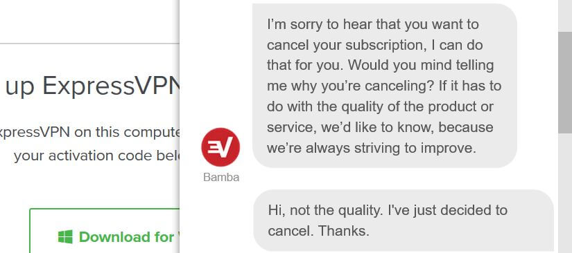 ExpressVPN free trial cancellation request.