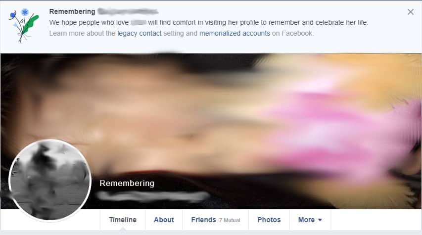facebook memorialize remembering