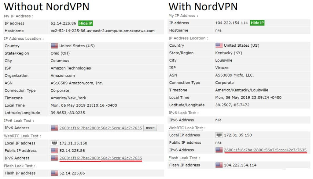 nordvpn leak test