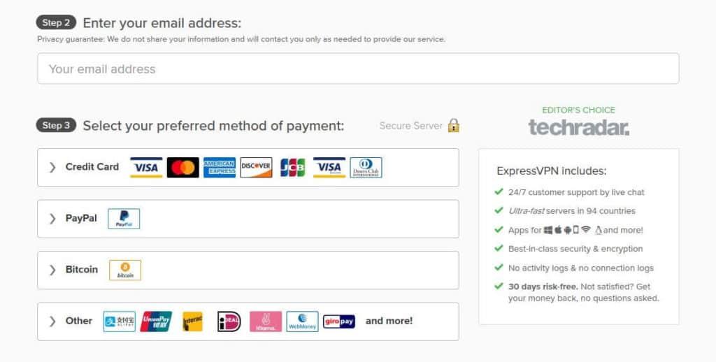 ExpressVPN free trial payment.