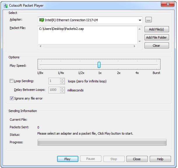 Colasoft Packet Player - screenshot