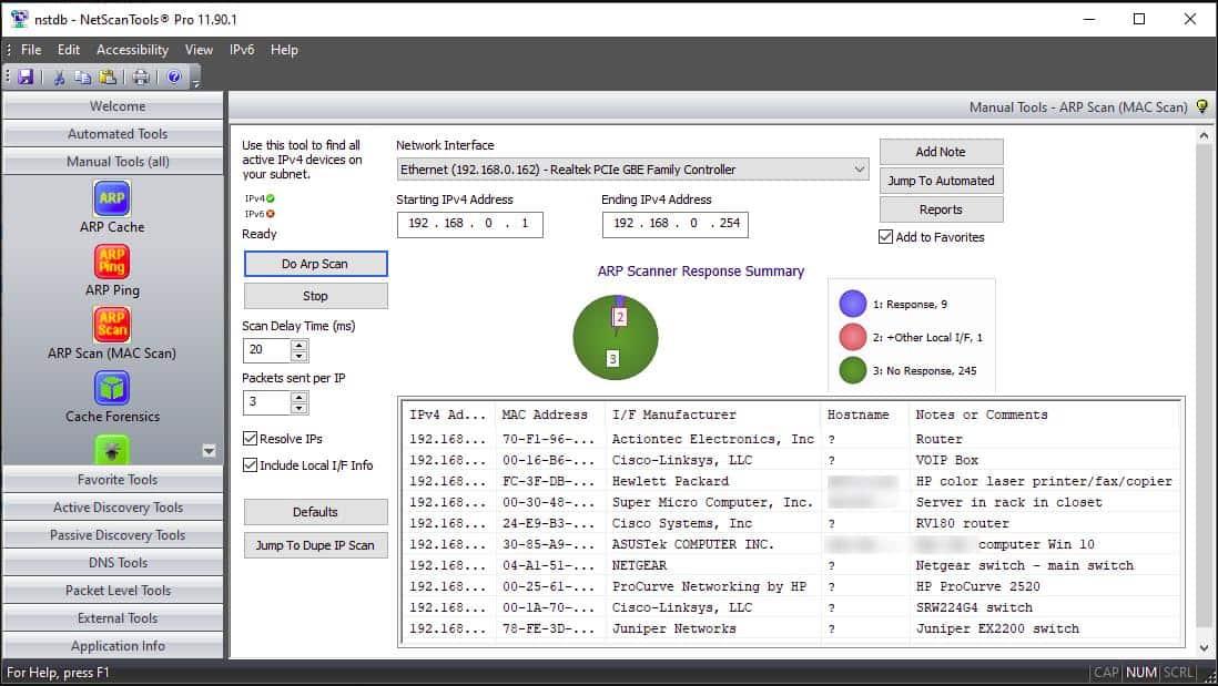 NetScanTools Pro Manual Tools screenshot