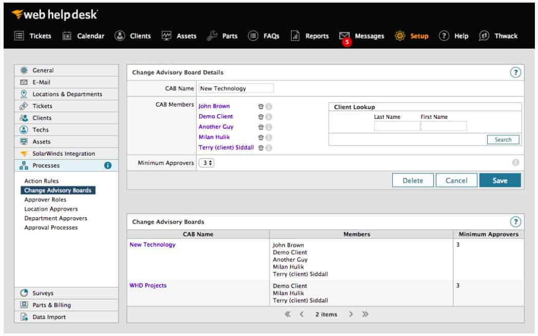 SolarWinds web help desk - Processes screenshot