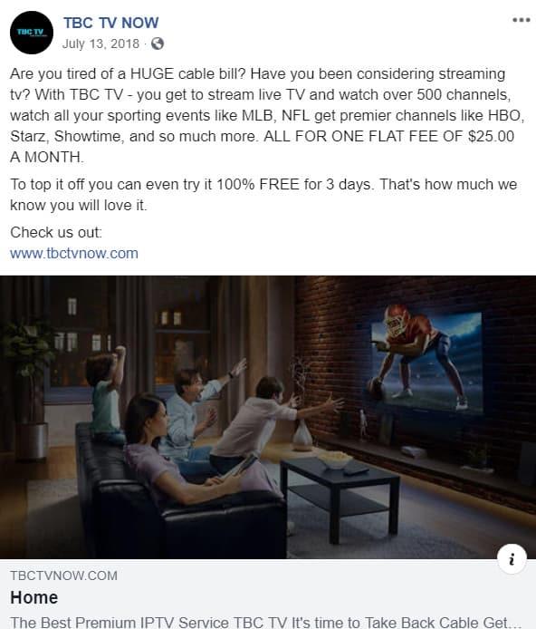 Facebook iptv TBC TV
