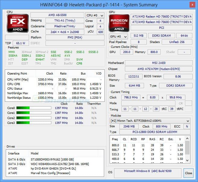 hwinfo dashboard screenshot