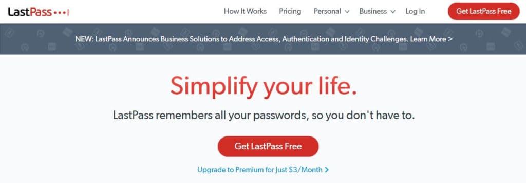 LastPass homepage.