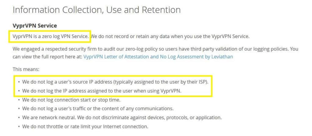 VyprVPN review logging policy.