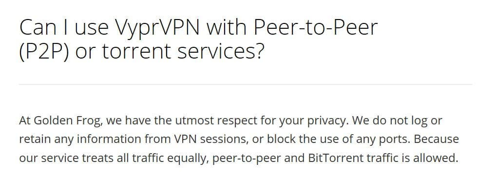 VyprVPN review torrenting section of FAQs.