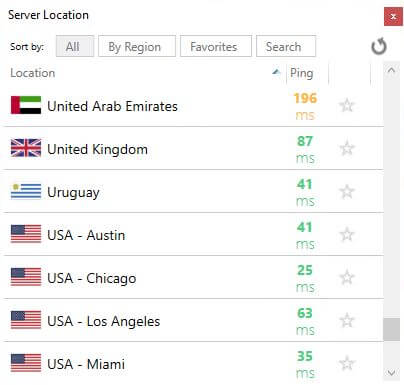 VyprVPN review server list.