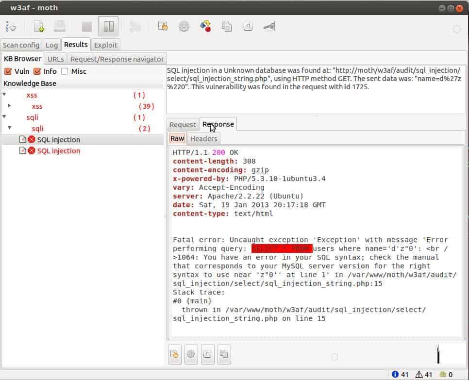 w3af screenshot