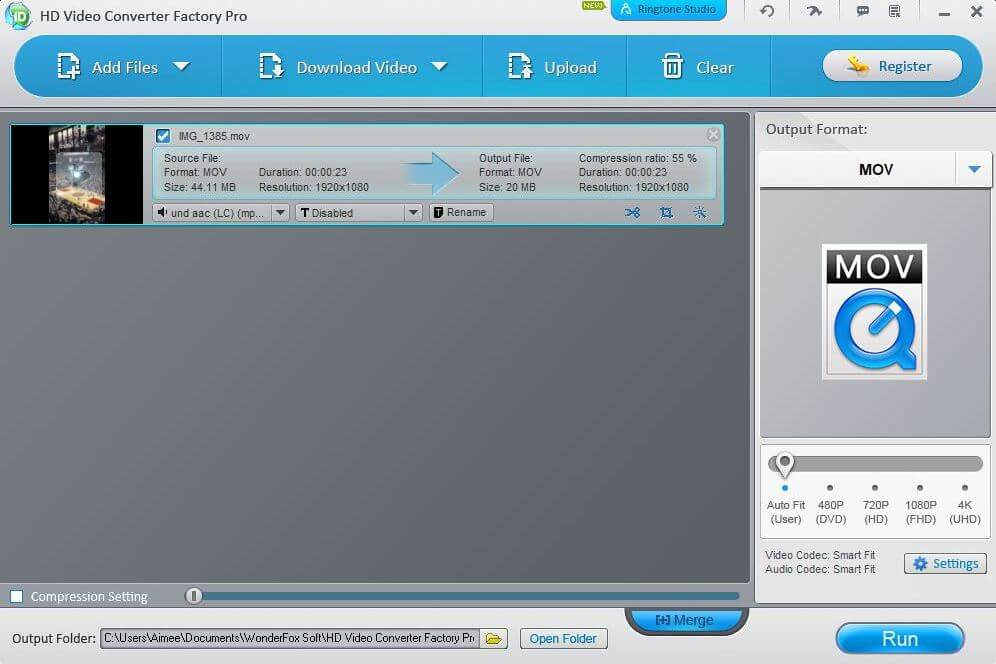 The interface for the WonderFox best video converter for Windows.
