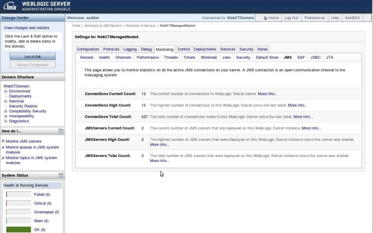 BEA WebLogic Administration Console