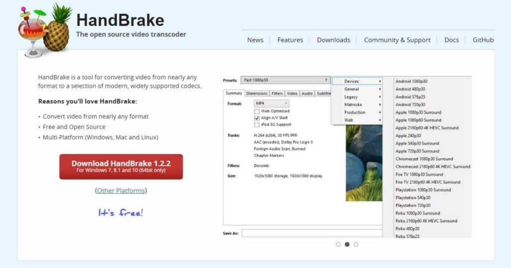 HandBrake video converter.