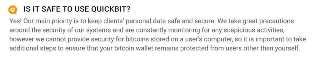 QuickBit security FAQ.