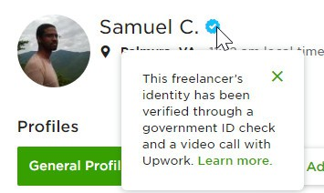 upwork account selling id badge
