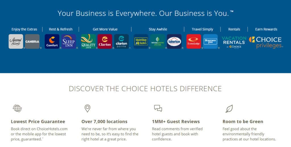 choice hotels homepage