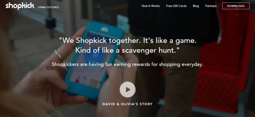 The Shopkick homepage.