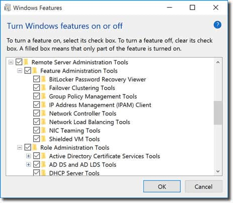 RSAT - Windows features view
