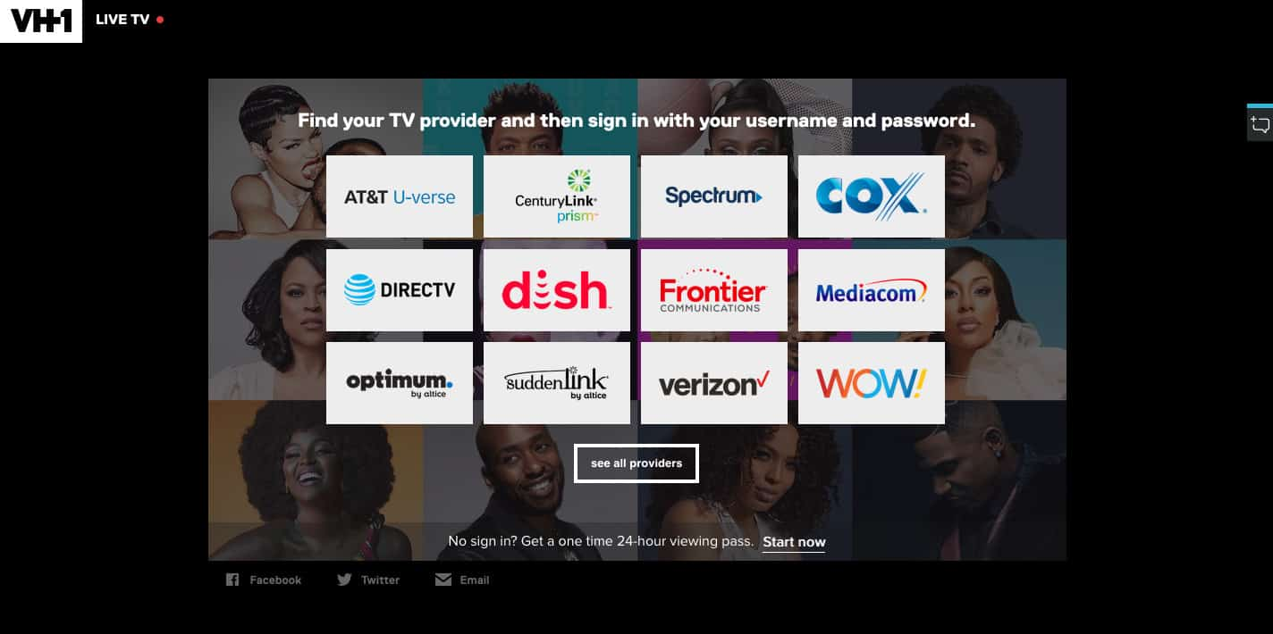 VH1 TV provider sign in