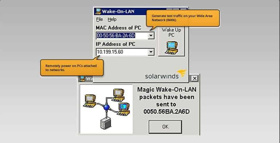 SolarWinds - WoL menu