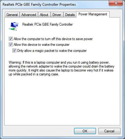 Realtek PCIe GBE Family Controller Properties - Power Management options all selected