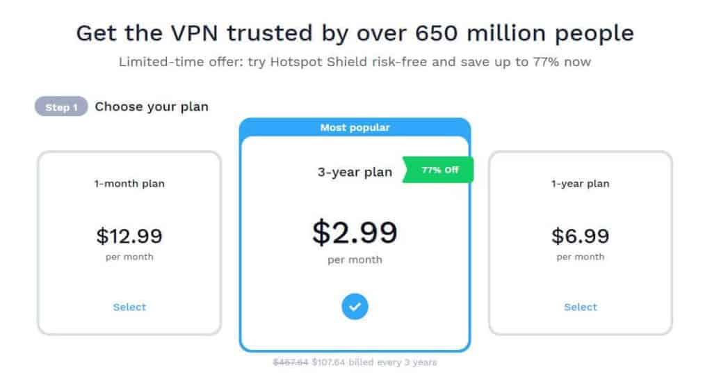 Hotspot Shield pricing.