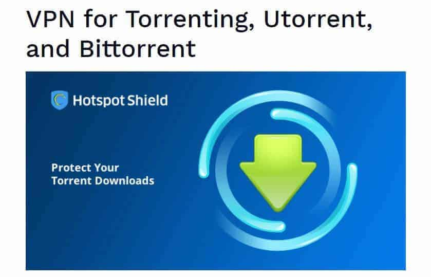 Hotspot Shield torrenting page.