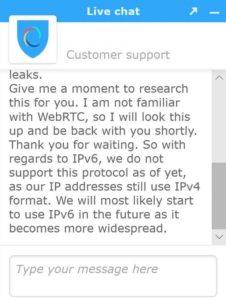 Hotspot Shield live chat capture.