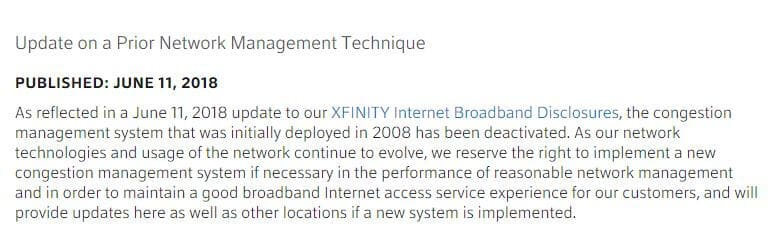 Comcast Xfinity throttling update.