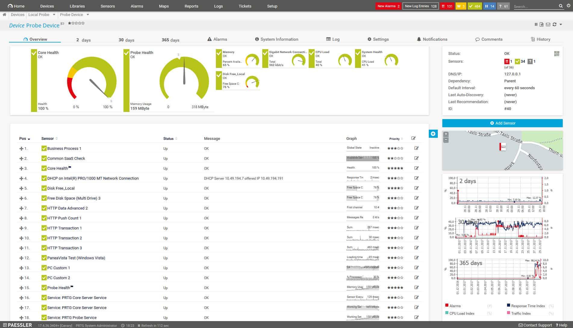 Paessler PRTG HP Monitoring view