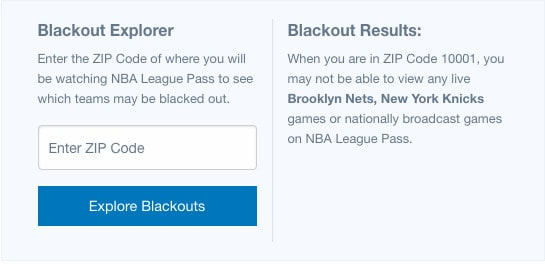 NBA League Pass Blackout Explorer