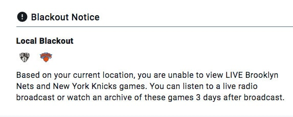 NBA League Pass local blackout notice