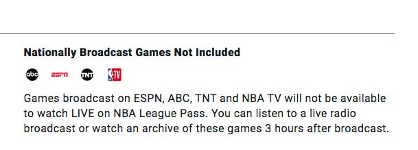 NBA League Pass national blackout notice